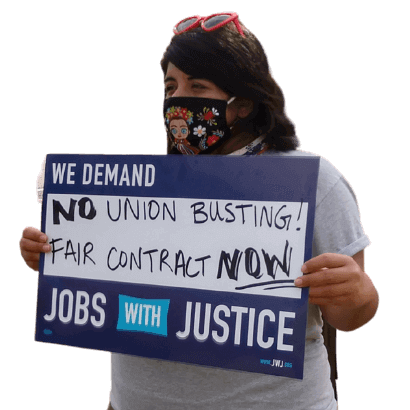 """""""No Union Busting. Fair Contract Now!"""" Sign held by Alicia"""